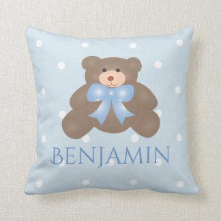 Cute Pastel Blue Ribbon Sweet Teddy Bear Baby Boy Throw Pillow