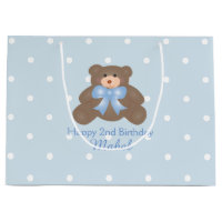 Cute Pastel Blue Ribbon Teddy Bear Boy Birthday Gift Bag