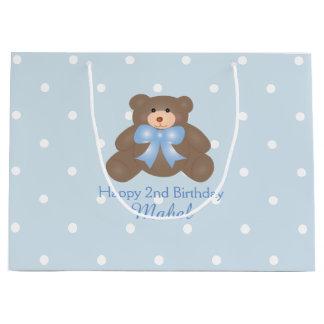 Cute Pastel Blue Ribbon Teddy Bear Boy Birthday Large Gift Bag