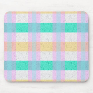 Cute Pastel Blue Yellow Teal Plaid Pattern Mouse Pad