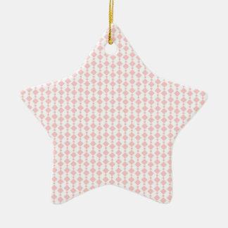 Cute Pastel Coral Pink & White Retro Stripes Ceramic Star Decoration
