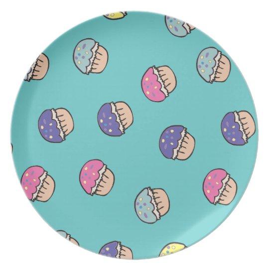 cute pastel cupcake pattern plate
