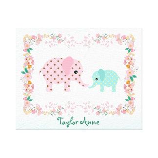 Cute Pastel Elephant Baby Canvas Print