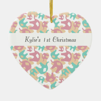 Cute Pastel Elephants Double-Sided Heart Ceramic Christmas Ornament