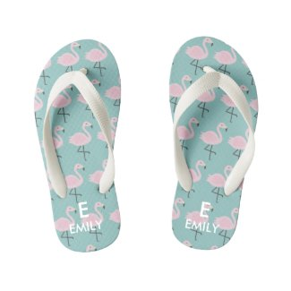 Cute Pastel Flamingo Initial Name Kids Flip Flops