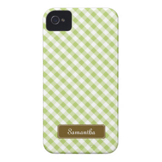 Cute Pastel Green Gingham Pattern iPhone 4 Case-Mate Cases