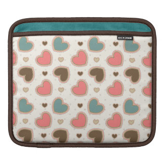 Cute pastel hearts pattern iPad sleeve
