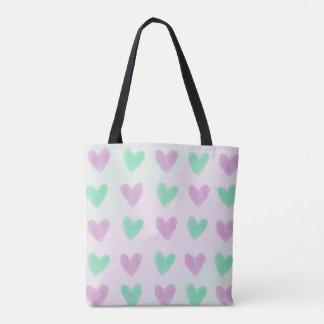 Cute Pastel Hearts Pattern Tote Bag