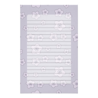 Cute Pastel Lavender Silver Cherry Blossom Pattern Stationery