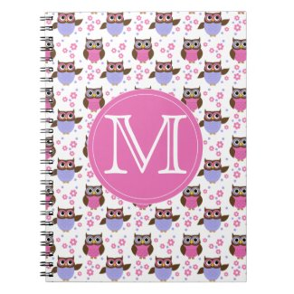 Cute Pastel Owls Pattern Monogram Notebook