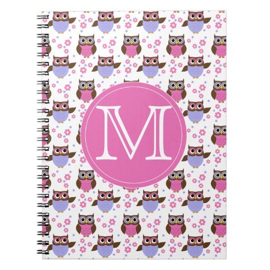 Cute Pastel Owls Pattern Monogram Notebook