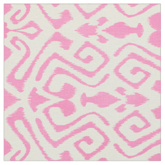 Cute pastel pink and yellow ikat tribal patterns fabric
