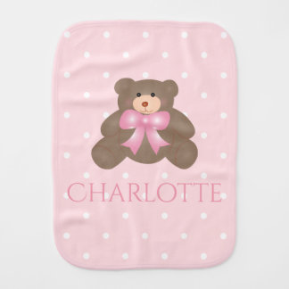 Cute Pastel Pink Ribbon Sweet Teddy Bear Baby Girl Burp Cloth