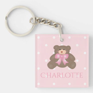 Cute Pastel Pink Ribbon Sweet Teddy Bear Baby Girl Double-Sided Square Acrylic Key Ring