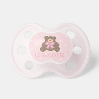 Cute Pastel Pink Ribbon Sweet Teddy Bear Baby Girl Dummy
