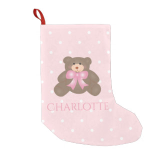 Cute Pastel Pink Ribbon Sweet Teddy Bear Baby Girl Small Christmas Stocking