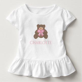 Cute Pastel Pink Ribbon Sweet Teddy Bear Baby Girl Toddler T-Shirt
