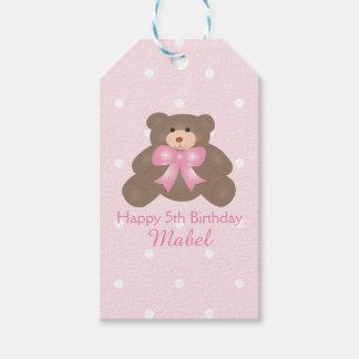 Cute Pastel Pink Ribbon Teddy Bear Girl Birthday Gift Tags