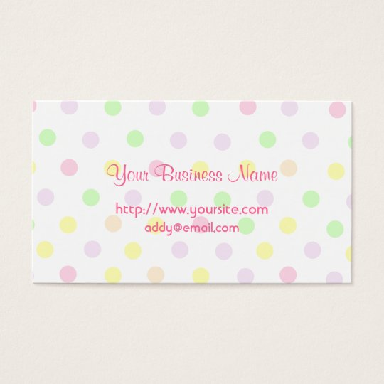 Cute Pastel Polka Dot Design Business Card