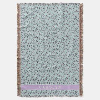 Cute pastel turquoise floral pattern monogram