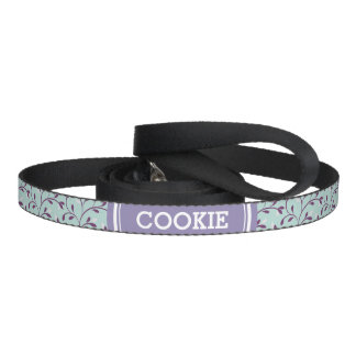 Cute pastel turquoise floral pattern monogram dog leash
