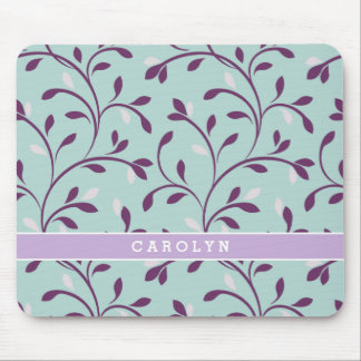 Cute pastel turquoise floral pattern monogram mousepad