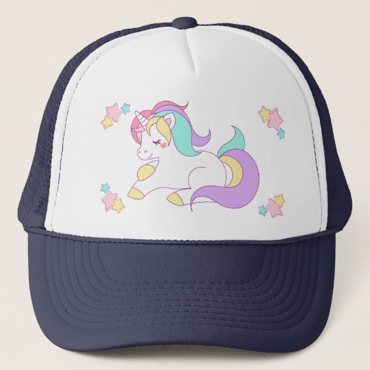 Cute Pastel Unicorn & Stars Navy Blue Trucker