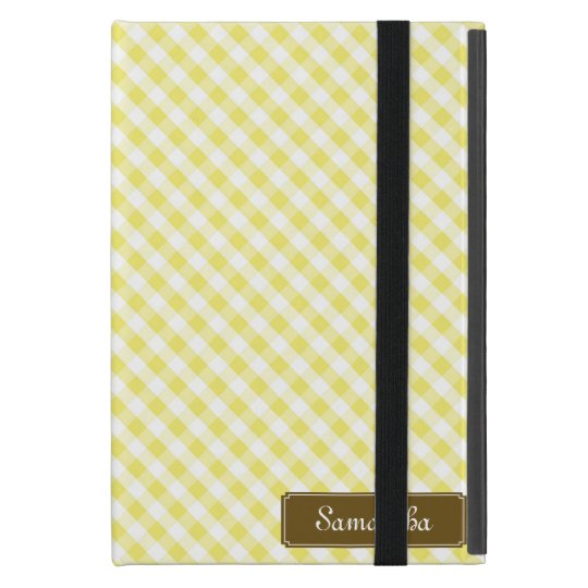 Cute Pastel Yellow Gingham Pattern iPad Mini Cover