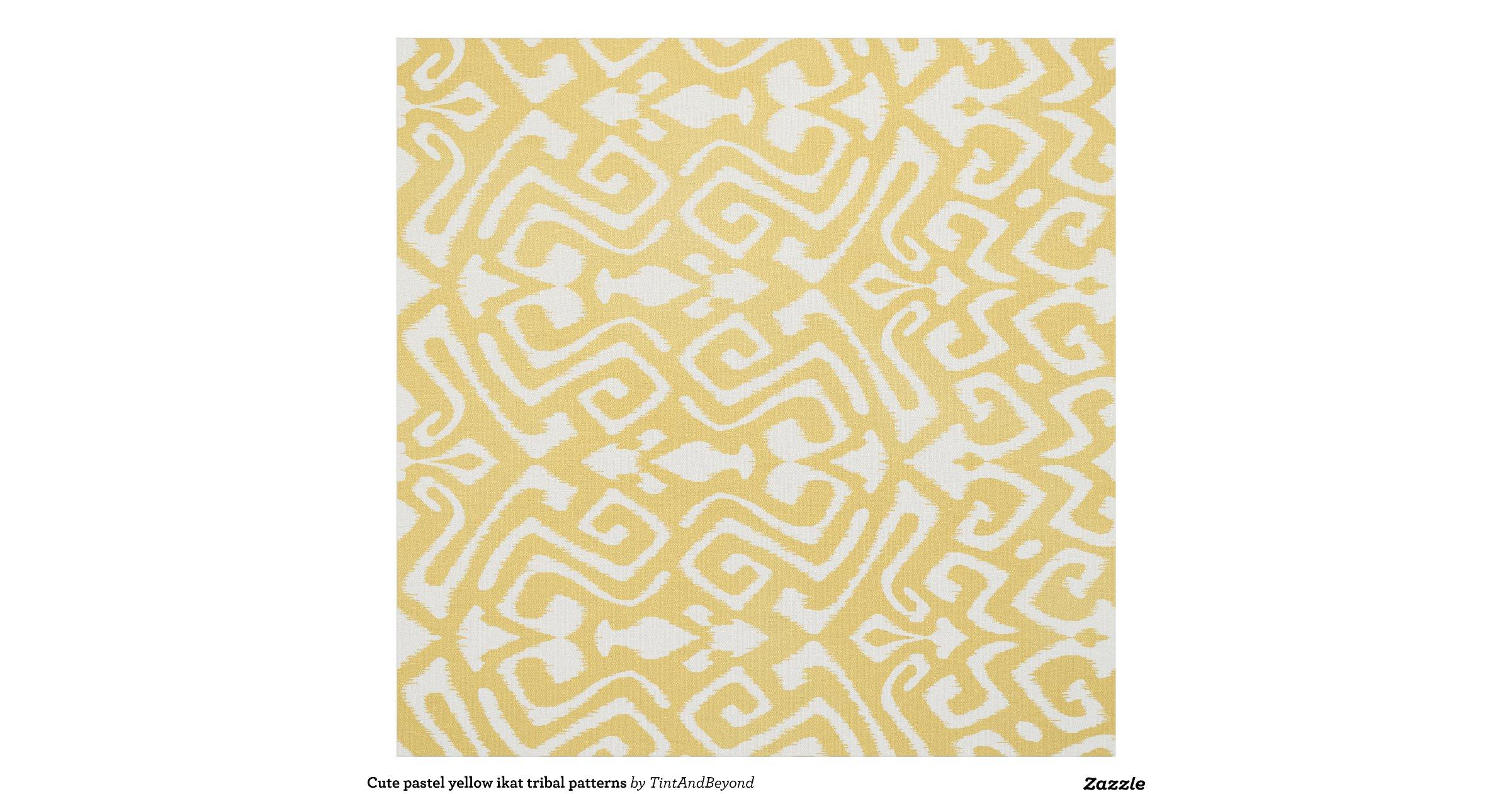 Cute Pastel Yellow Ikat Tribal Patterns Fabric Zazzle