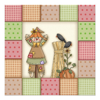Cute patchwork Scarecrow Thanksgiving Invitation