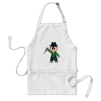 CUTE PATCHY KNIFE-WIELDING KILLER ADULT APRON