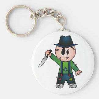 CUTE PATCHY KNIFE-WIELDING KILLER BASIC ROUND BUTTON KEY RING