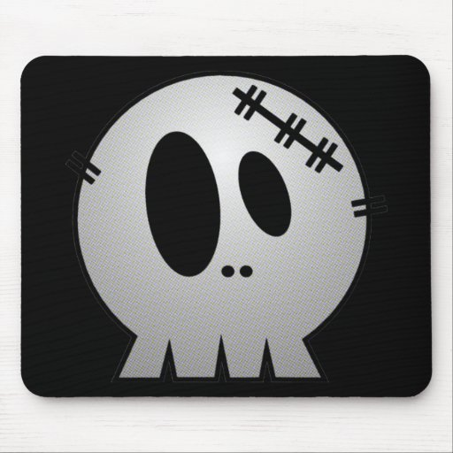 CUTE PATCHY SKULL - GREY BW MOUSEPAD