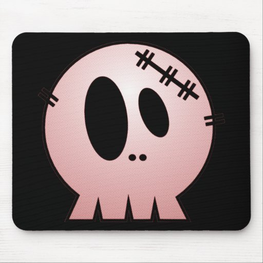 CUTE PATCHY SKULL - RED MOUSEPADS