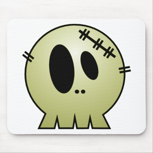 CUTE PATCHY SKULL - YELLOW MOUSEPAD