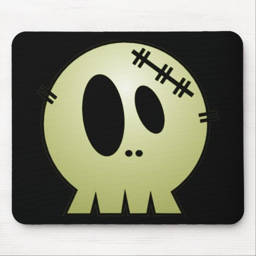 CUTE PATCHY SKULL - YELLOW MOUSE PADS