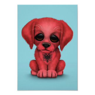 Cute Patriotic Albanian Flag Puppy Dog, Blue 9 Cm X 13 Cm Invitation Card