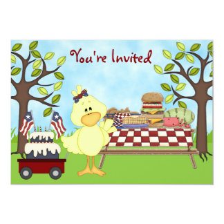 Cute Patriotic Bird Picnic Birthday Invite ~ Girls
