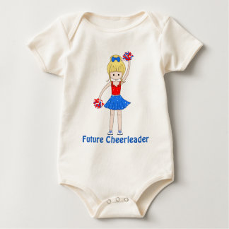 Cute Patriotic Blonde Cheerleader Girl Cartoon Baby Bodysuit