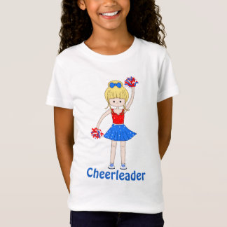Cute Patriotic Blonde Cheerleader Girl Cartoon T-Shirt