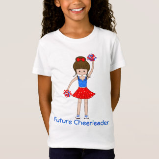 Cute Patriotic Brunette Cheerleader Girl Cartoon T-Shirt