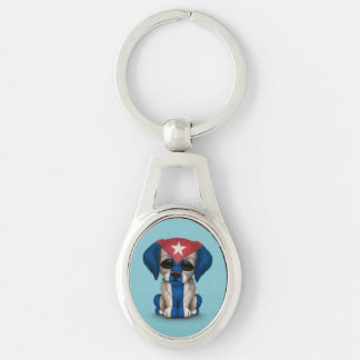 Cute Patriotic Cuban Flag Puppy Dog, Blue Silver-Colored Oval Key Ring
