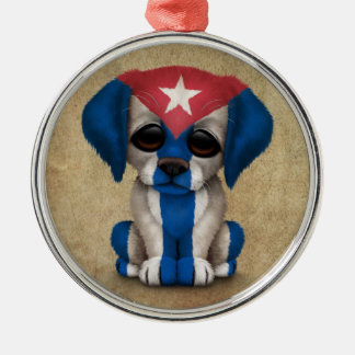 Cute Patriotic Cuban Flag Puppy Dog, Rough Silver-Colored Round Decoration