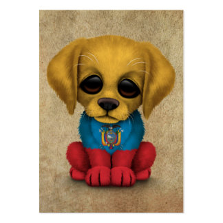Cute Patriotic Ecuadorian Flag Puppy Dog, Rough Pack Of Chubby Business Cards