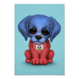 Cute Patriotic Haitian Flag Puppy Dog, Blue 9 Cm X 13 Cm Invitation Card