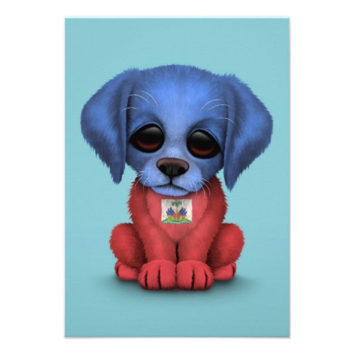 Cute Patriotic Haitian Flag Puppy Dog, Blue Invitations
