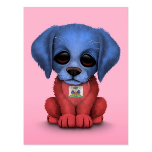 Cute Patriotic Haitian Flag Puppy Dog, Pink Post Cards