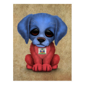 Cute Patriotic Haitian Flag Puppy Dog, Rough Postcard