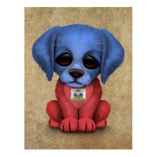 Cute Patriotic Haitian Flag Puppy Dog, Rough Post Cards