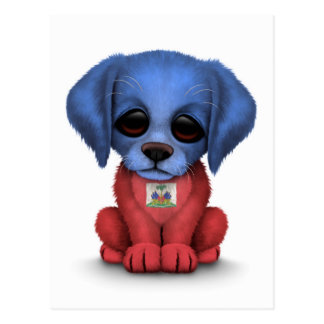 Cute Patriotic Haitian Flag Puppy Dog, White Postcard